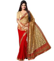 Buy red brasso brasso saree With Blouse brasso-saree online