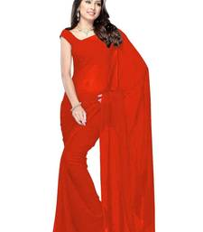 Buy red plain georgette saree With Blouse designer-embroidered-saree online