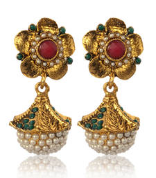 Buy Unique Earrings with Rich Pearls and Flower design Top ABARI0AC0033 gifts-for-her online
