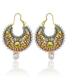 White Flower Pearl Bali Polki Earring ha071 shop online