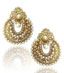 Beautiful White Pearl Polki Earrings by ADIVA ABCHI0BCD006 TDS 2 shop online