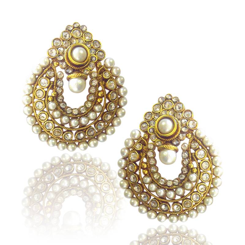 Buy Beautiful White Pearl Polki Earrings By Adiva