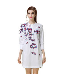 Buy White embroidered cotton tops party-top online