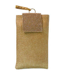 Buy Diamonte Flap Jute Mobile Cover (Gold 3) wallet online