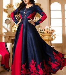 Buy Navy Blue Banglori embroidered unstitched salwar with dupatta anarkali-salwar-kameez online