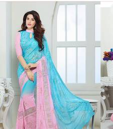Buy Chiffon saree by Ravechi Fab (Sky Blue & Pink) chiffon-saree online