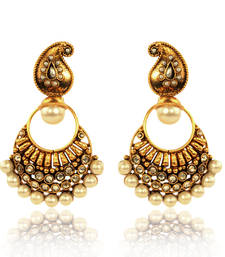 Buy Elegant White Paisley Pearl Polki Earring By Adiva  v40w gifts-for-her online