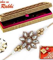 Buy Premium Rakhi Gift Box with Set of two AD & Kundan Studded Rakhis send-rakhi-to-indium online