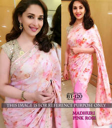 Buy pink embroidered faux georgette saree With Blouse madhuri-dixit-saree online