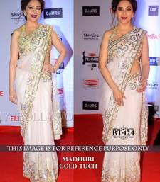 Buy white embroidered faux georgette saree With Blouse madhuri-dixit-saree online