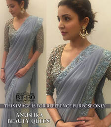 Buy grey embroidered faux georgette saree With Blouse anushka-sharma-saree online