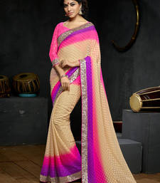 Buy pink embroidered viscose saree With Blouse viscose-saree online