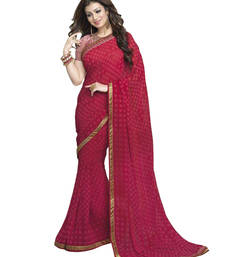 Buy Red printed georgette saree with blouse ethnic-saree online