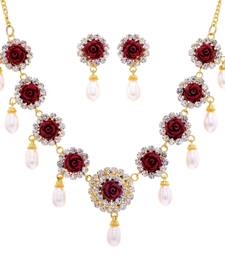 Buy AD RED FLOWER N REAL PEARLS NECKLACE SET necklace-set online