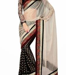 Buy Ravishing Black and White Viscose Half n Half Saree half-saree online