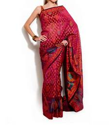Buy Organza Silk fancy banarasi saree cotton-saree online