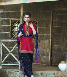Buy Maroon cotton embroidered semi stitiched salwar with dupatta eid-special-salwar-kameez online