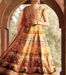 Buy Multicolor bhagalpuri plain semi stitiched party wear gowns party-wear-gown online