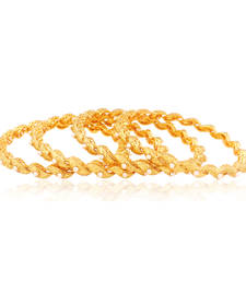 Buy Wow-Inspiring pearl studded Gold plated Antique Bangles bangles-and-bracelet online
