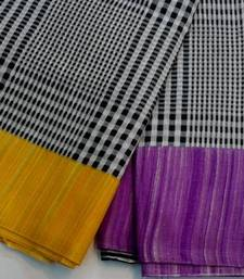 Buy Black and white check saree with yellow and purple cotton-saree online