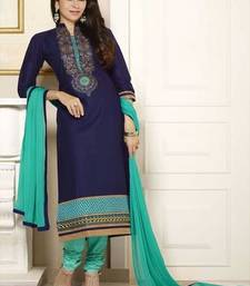Buy Blue cotton embroidered unstitched salwar with dupatta dress-material online