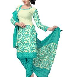 Buy Green printed crepe unstitched salwar with dupatta dress-material online