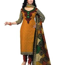 Buy Orange printed crepe unstitched salwar with dupatta dress-material online