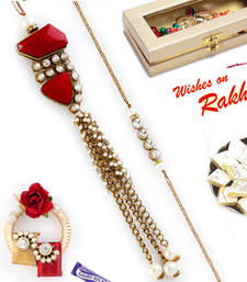 Buy Charming AD Studded Red Crystal Beads Bhaiya Bhabhi Rakhi Set rakhi-international online