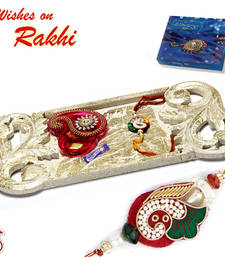 Buy Beautiful Beige Shade Rakhi Pooja Thali with Set of 2 Rakhis rakhi-international online