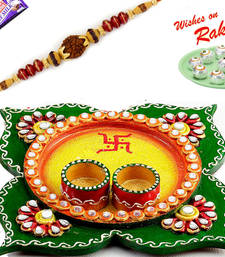 Buy Amazing Yellow & Green Floral Design Rakhi Pooja Thali with 1 Charming Rakhi rakhi-international online