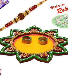 Buy Sparkling Green & Yellow Floral Design Rakhi Pooja Thali with 1 Charming Rakhi rakhi-international online