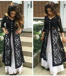 Buy Black net embroidered semi stitiched kameez with pakistani lehenga pakistani-salwar-kameez online