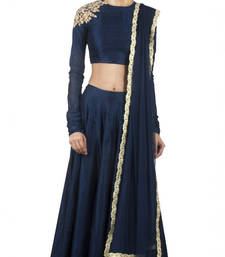 Navy blue silk embroidered unstitched lehenga choli shop online