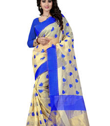 Buy Blue hand woven ORGNZA  saree With Blouse organza-saree online