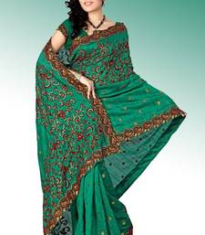 Buy Bottle green bhagalpuri silk saree with blouse (anc481) bhagalpuri-silk-saree online