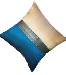 Mulberry Silk Cushions with applique patterns - Peacock Blue & Beige shop online