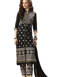 Buy Black embroidered cotton unstitched salwar with dupatta gifts-for-sister online