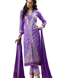 Buy Purple embroidered cotton unstitched salwar with dupatta gifts-for-sister online