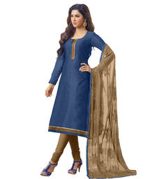 Buy Blue embroidered banarasi chanderi unstitched salwar with dupatta gifts-for-sister online