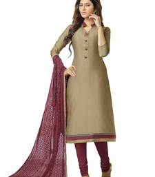 Buy Brown embroidered banarasi chanderi unstitched salwar with dupatta gifts-for-sister online