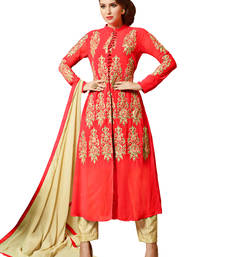 Buy Red embroidered georgette unstitched salwar with dupatta gifts-for-sister online