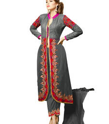 Buy Grey embroidered georgette unstitched salwar with dupatta gifts-for-sister online
