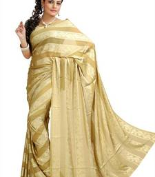 Buy Beige chiffon jacquard saree with unstitched blouse (krs973) chiffon-saree online