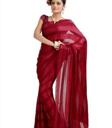 Buy  Maroon chiffon jacquard saree with unstitched blouse (krs983) chiffon-saree online