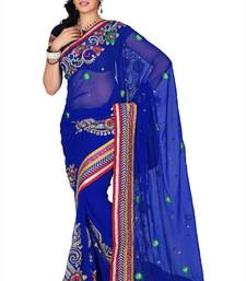 Buy Royal blue chiffon saree with unstitched blouse (cnc1196) chiffon-saree online