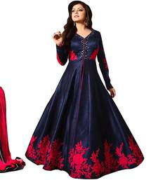 Buy Blue bhagalpuri silk embroidered semi stitched salwar with dupatta salwar-kameez-below-2000 online