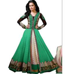 Buy Green georgette and net embroidered semi stitched salwar with dupatta salwar-kameez-below-2000 online