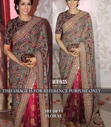 Buy maroon embroidered faux georgette saree With Blouse sridevi-saree online