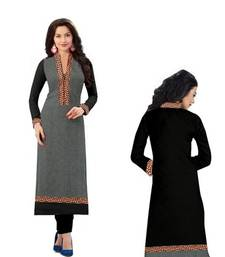 Buy black and grey straight georgette semi stitched kurti kurtas-and-kurti online