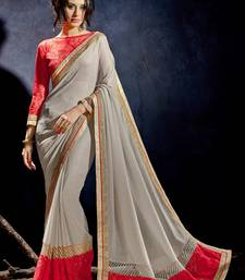 Buy Beige plain shimmer saree With Blouse shimmer-saree online